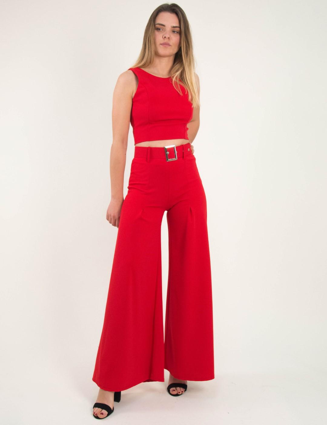 b9165e9a87f0 Γυναικείο κόκκινο σετ παντελόνα καμπάνα ζώνη τοπ 250079D