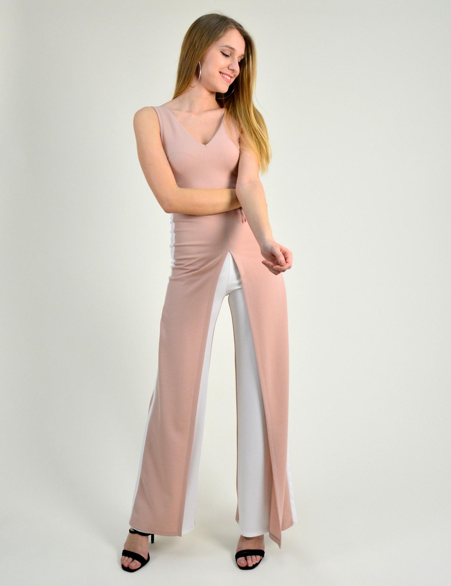 9bbc7676a2fb Γυναικεία ολόσωμη φόρμα αμάνικη ρίγα στο πλάι ροζ 014009005