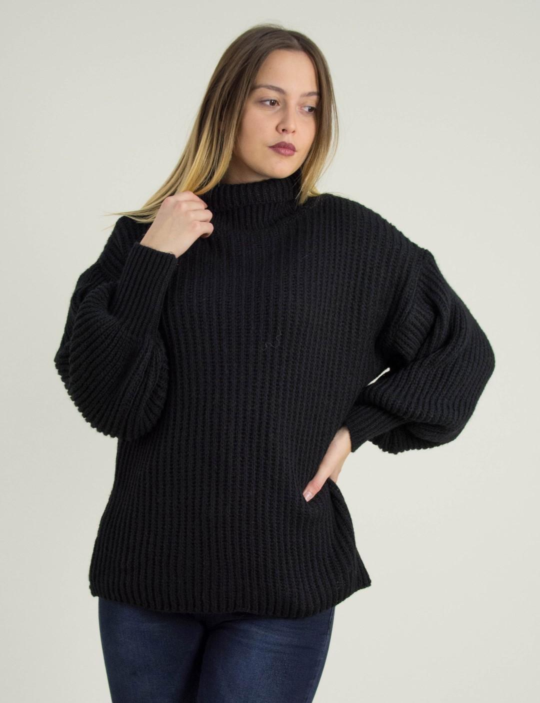 ce4af697bfbd Γυναικείο μαύρο πλεκτό μονόχρωμο πουλόβερ φαρδύ ζιβάγκο 2251L