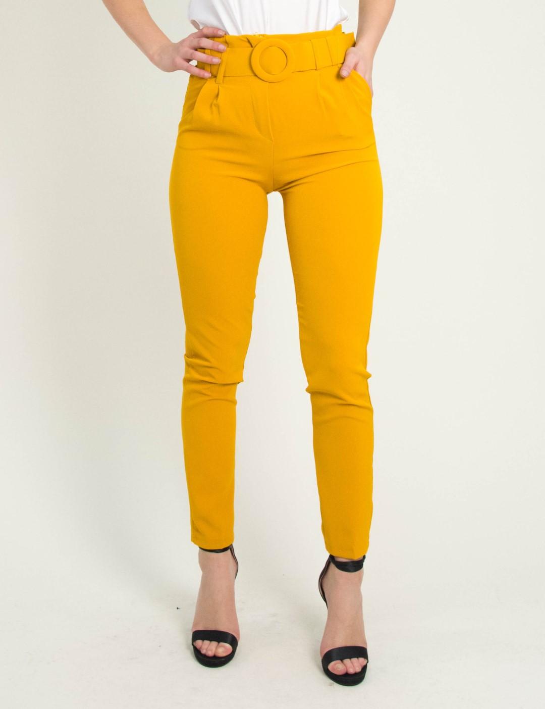 a1f26c757c04 Γυναικείο ώχρα ψηλόμεσο παντελόνι με ζώνη 20063G
