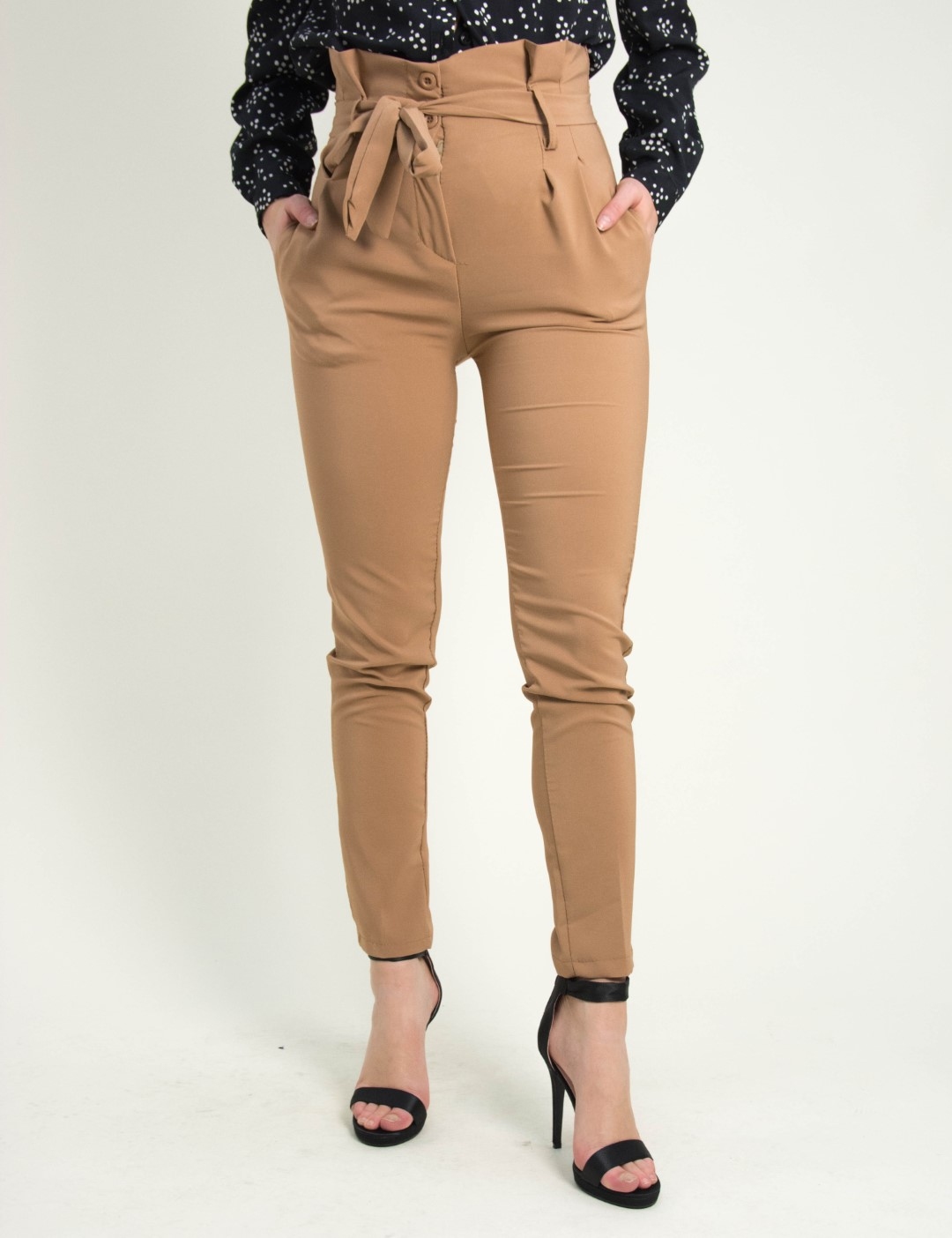 Γυναικεία μόκα ψηλόμεσο υφασμάτινο παντελόνι 151211M 5b264899098