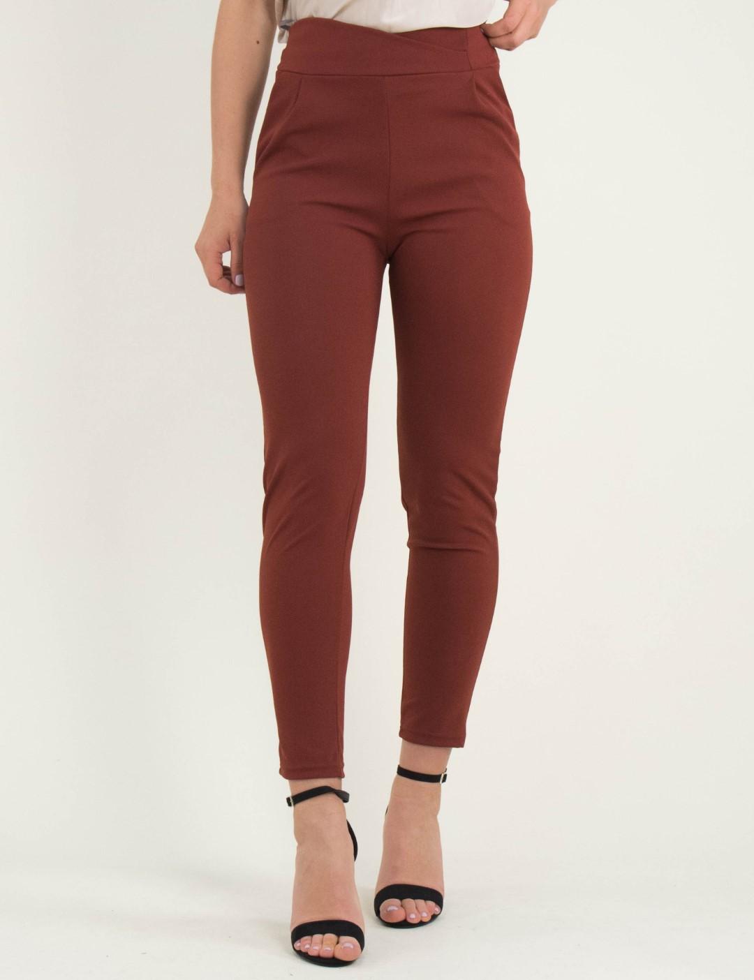 7951972e2899 Γυναικείο κεραμιδί ψηλόμεσο παντελόνι με τσέπες So Sexy 41148E
