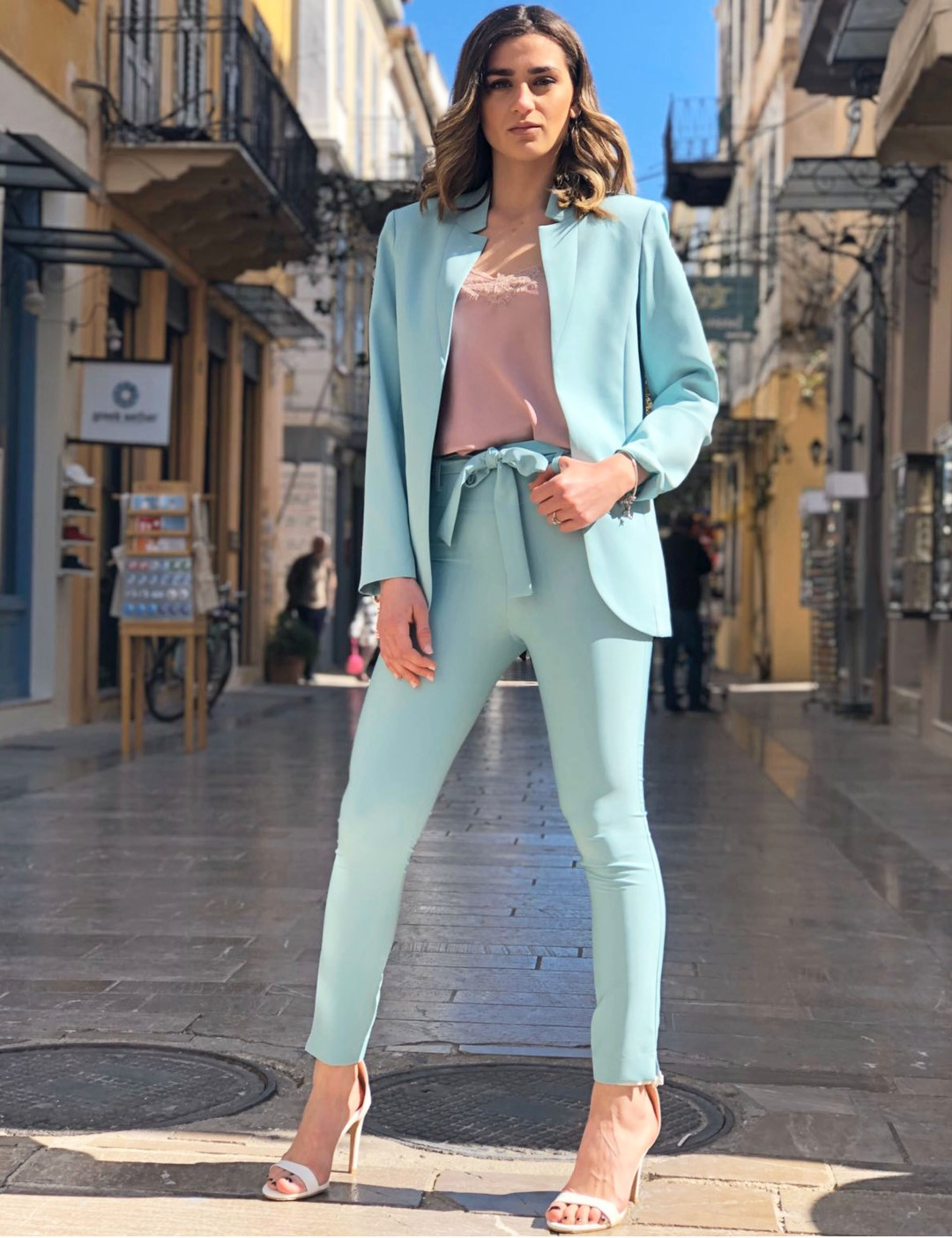 Enzzo γυναικείο μέντα κρεπ παντελόνι με ζώνη 201008M