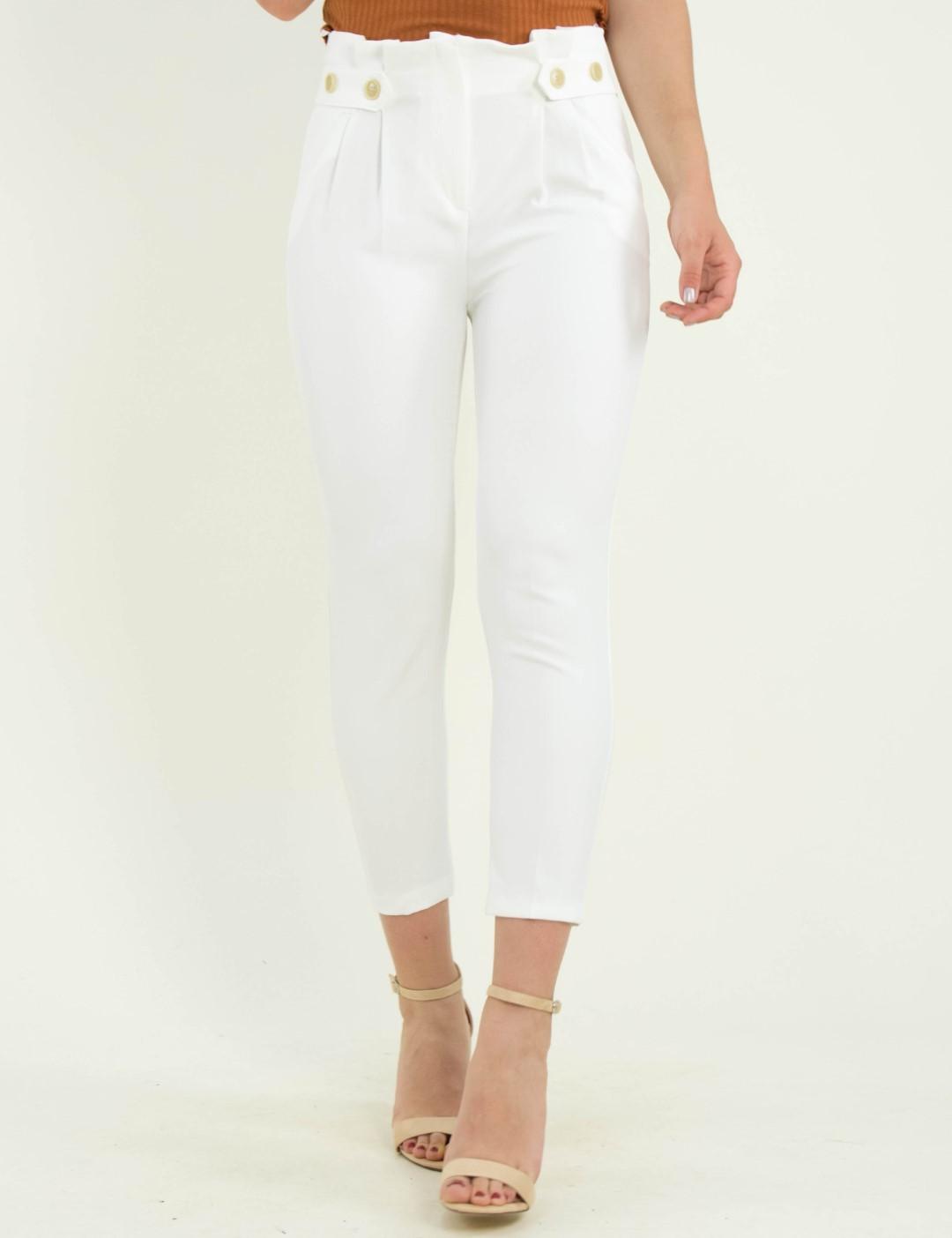 85a97acf3b7 Γυναικείο λευκό ψηλόμεσο υφασμάτινο παντελόνι πιέτες 205205D
