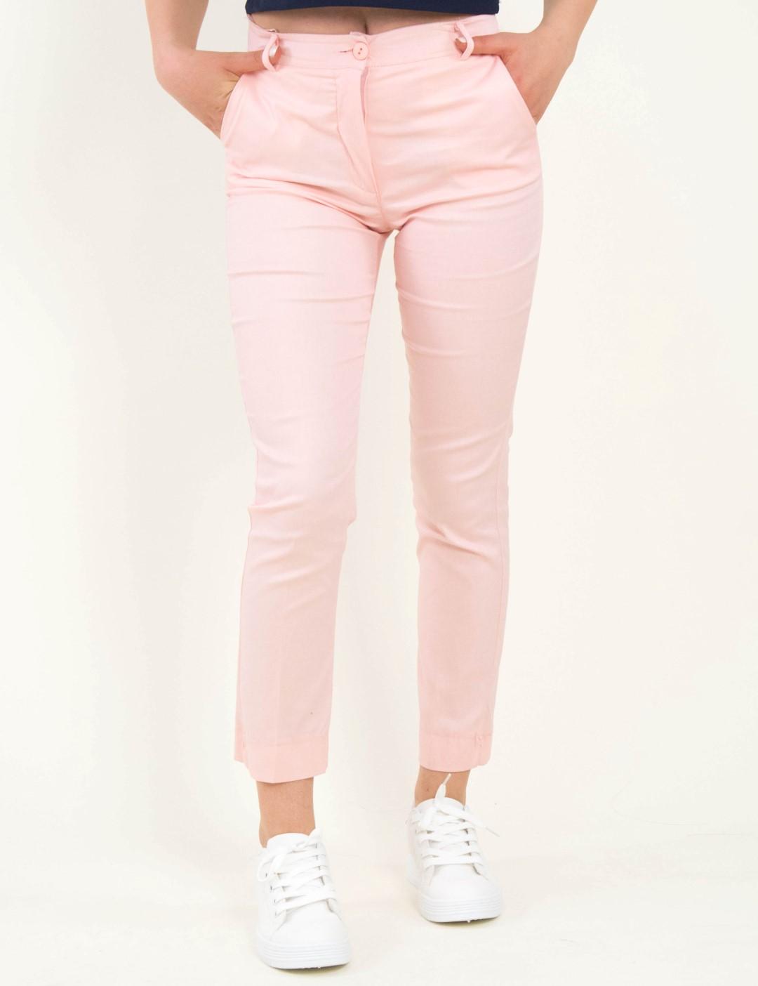 3557ddfcc18 Γυναικείο ροζ υφασμάτινο παντελόνι σωληνας So Sexy 41228