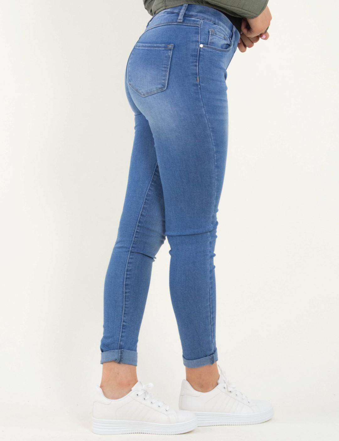 6a1507fac1 Γυναικείο μπλε ελαστικό τζιν παντελόνι με λάστιχο CY1115