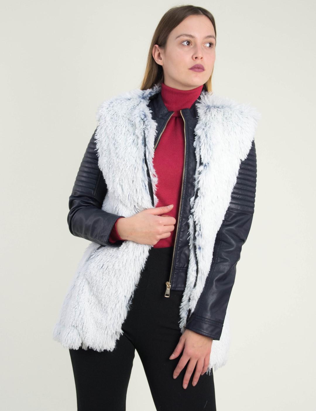 Γυναικείο λευκό μπλε αμάνικο γουνάκι φερμουάρ Lipsy 2160820V b2ef9fb68c0
