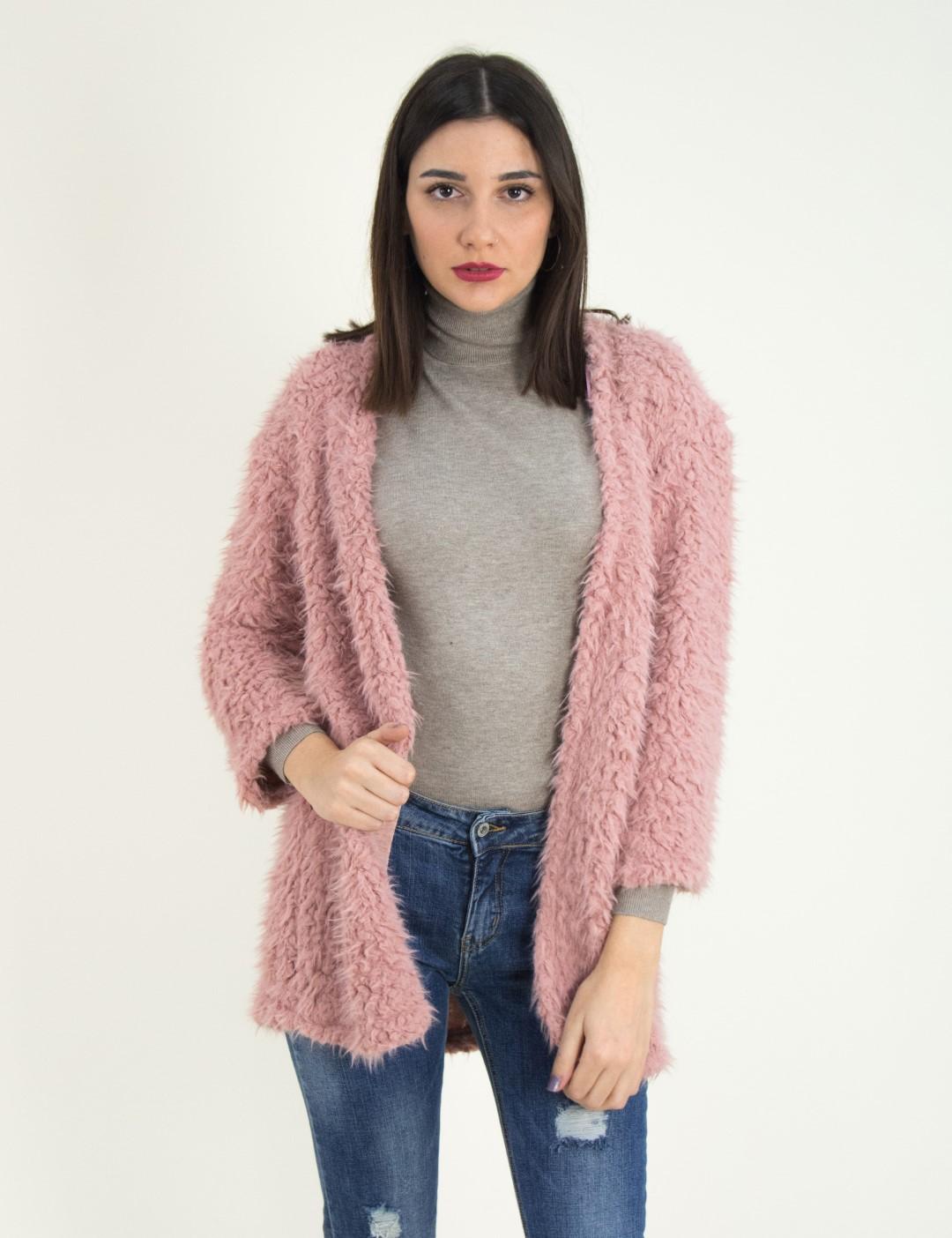 Γυναικεία ροζ ζακέτα γουνάκι μονόχρωμη Benissimo 64735C 06caa3c4141