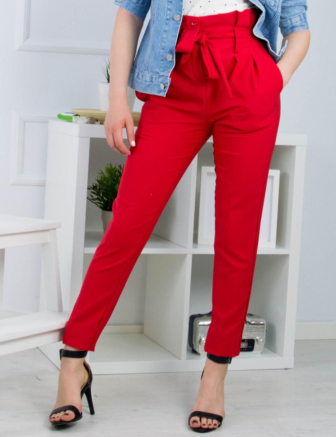 2a5ea155bd2 Γυναικεία ώχρα ψηλόμεσο υφασμάτινο παντελόνι 151211Z | Fashion Voucher