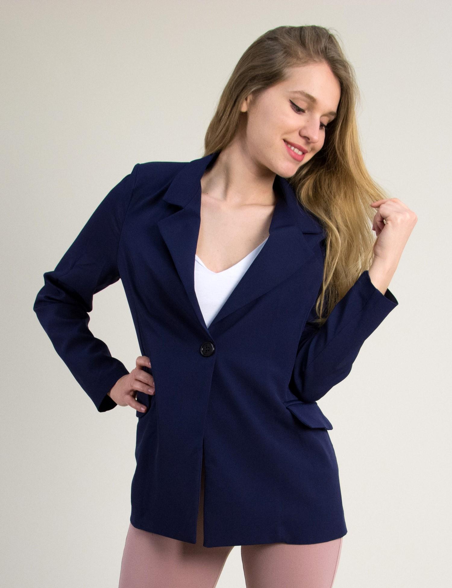 4f8ad69ab3f3 Γυναικείο σακάκι με βάτες και κουμπί Coocu μπλε μονόχρωμο 64670