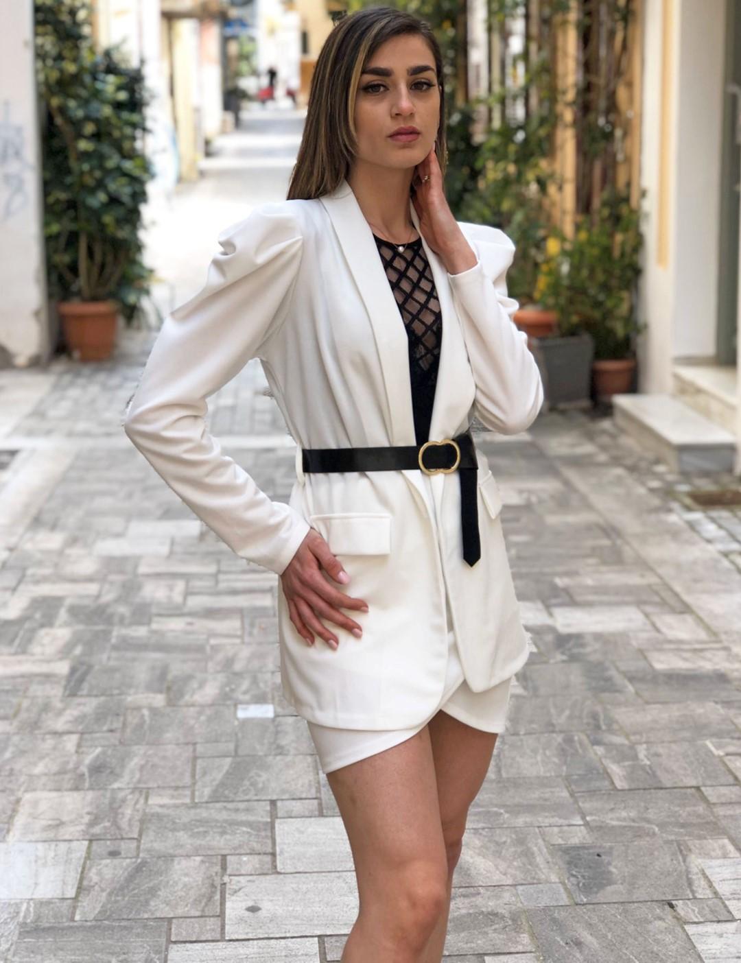 Γυναικείο λευκό υφασμάτινο σετ σακάκι φούστα 410712W