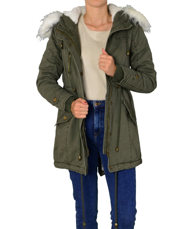 Γυναικεία   Ρούχα   Πανωφόρια   Παλτό   Γυναικείο παρκά με γούνα και ... 3f5bb31fd49