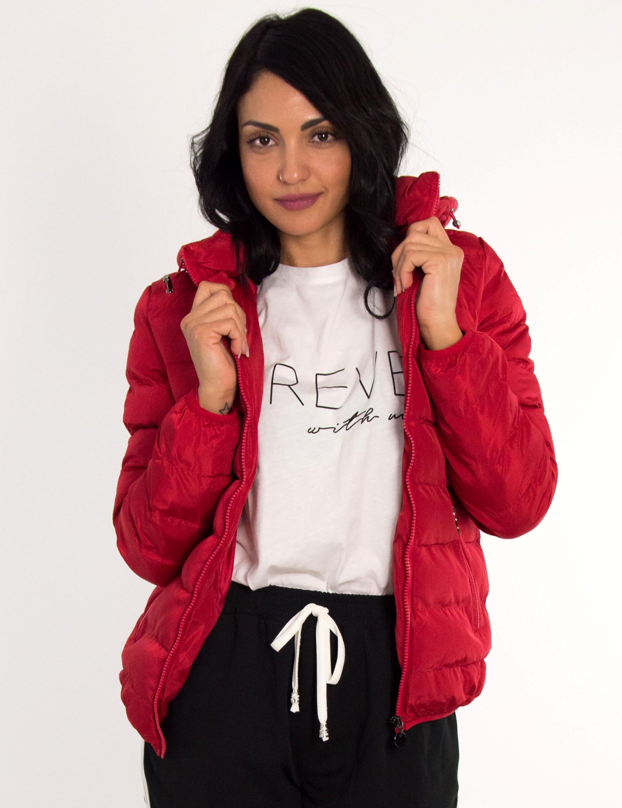 Γυναικείο κόκκινο καπιτονέ μπουφάν LC285115D