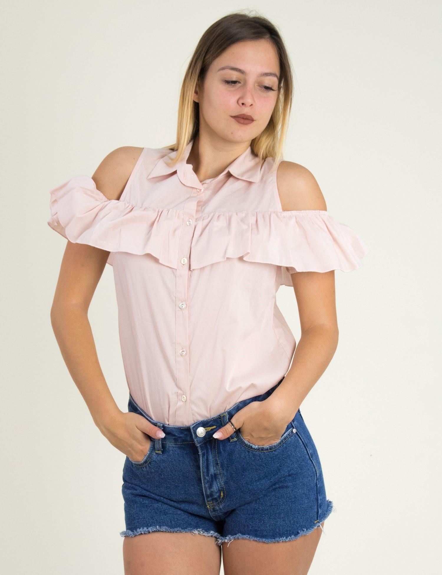 5a1adf2fb78e Γυναικείο πουκάμισο Lipsy ροζ με βολάν 1170505