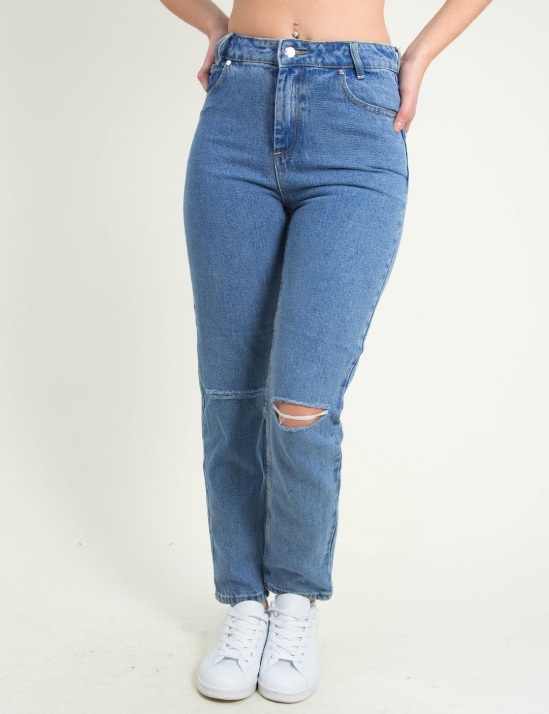 Γυναικείο μπλε ανοιχτό τζιν Mom Fit σκίσιμο γόνατα ITA924 8d72efe9ee7