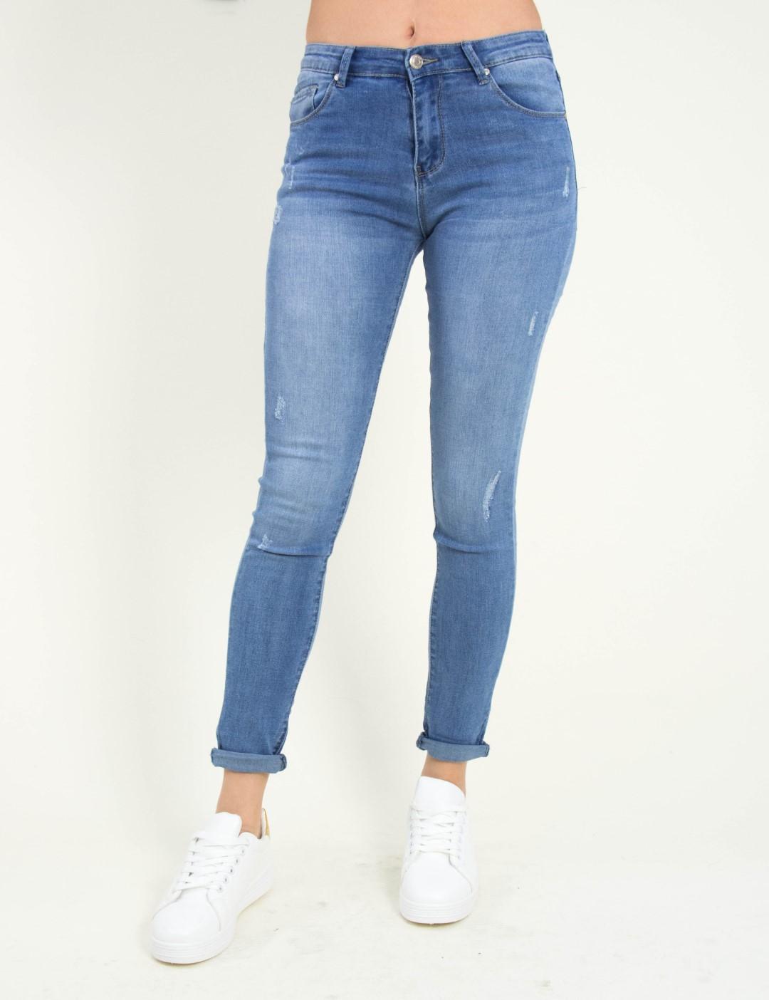 273f5e16a5c9 Γυναικείο μπλε ανοιχτόχρωμο τζιν παντελόνι σωλήνας CY1111