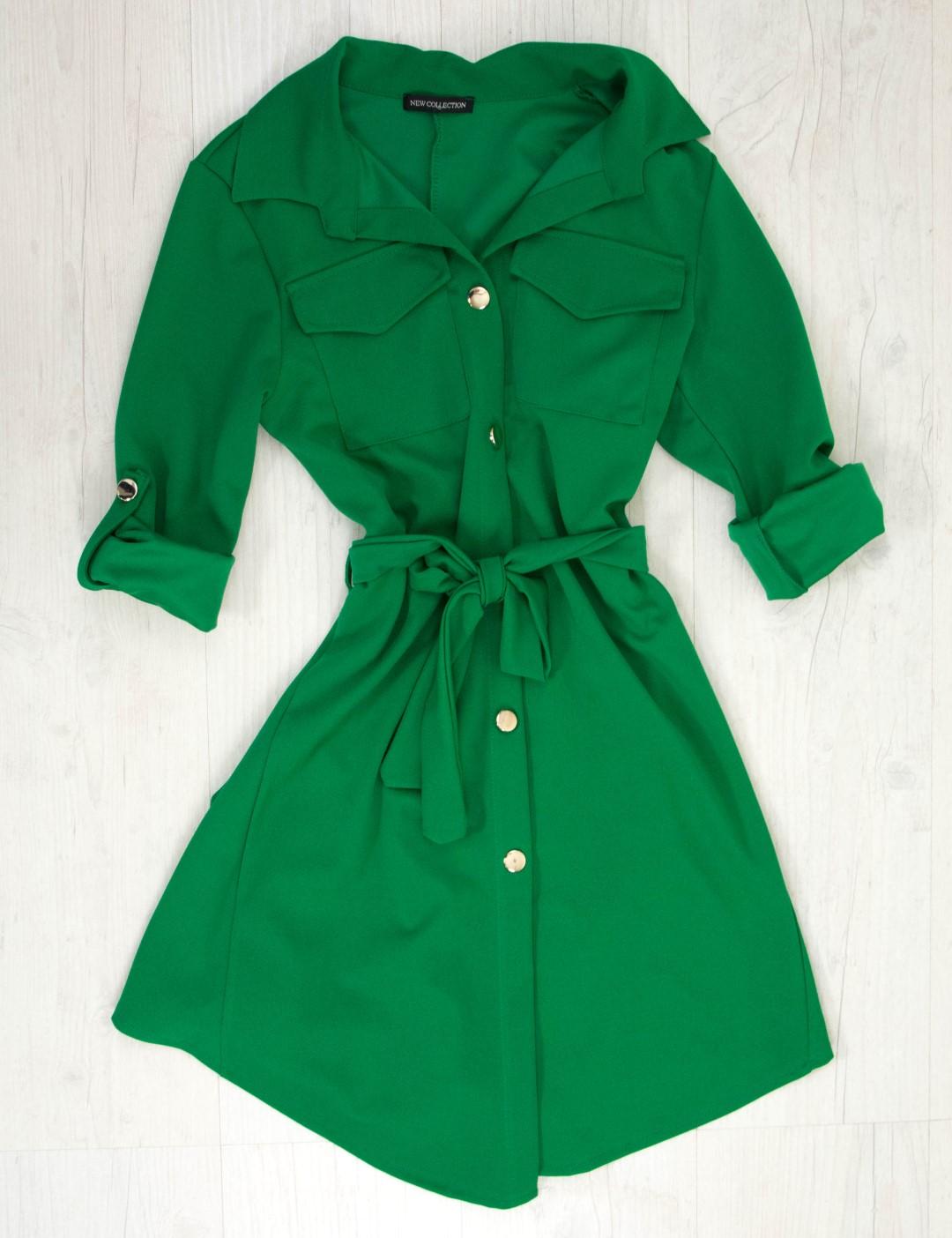 0e207e4dd4fa Γυναικείο πράσινο πουκαμισοφόρεμα με χρυσά κουμπιά 5005Z