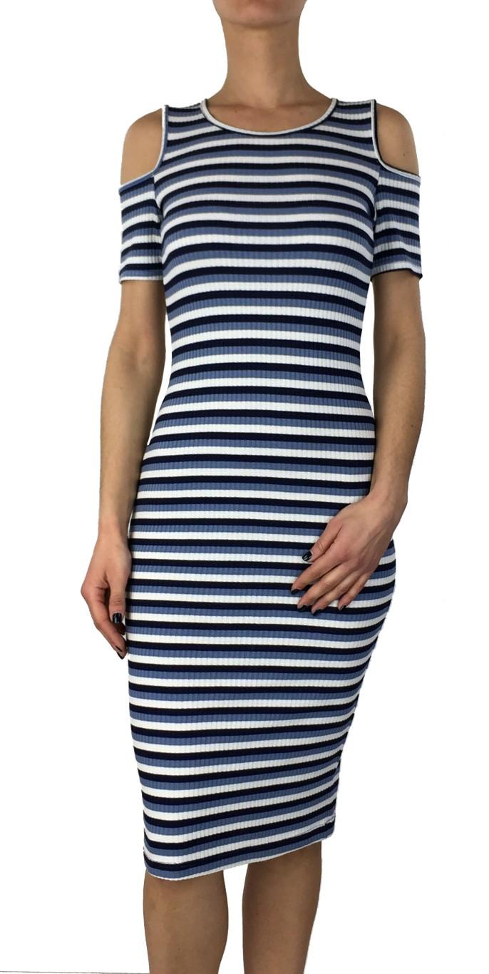 Coctail μπλε ριγέ midi φόρεμα 013600011
