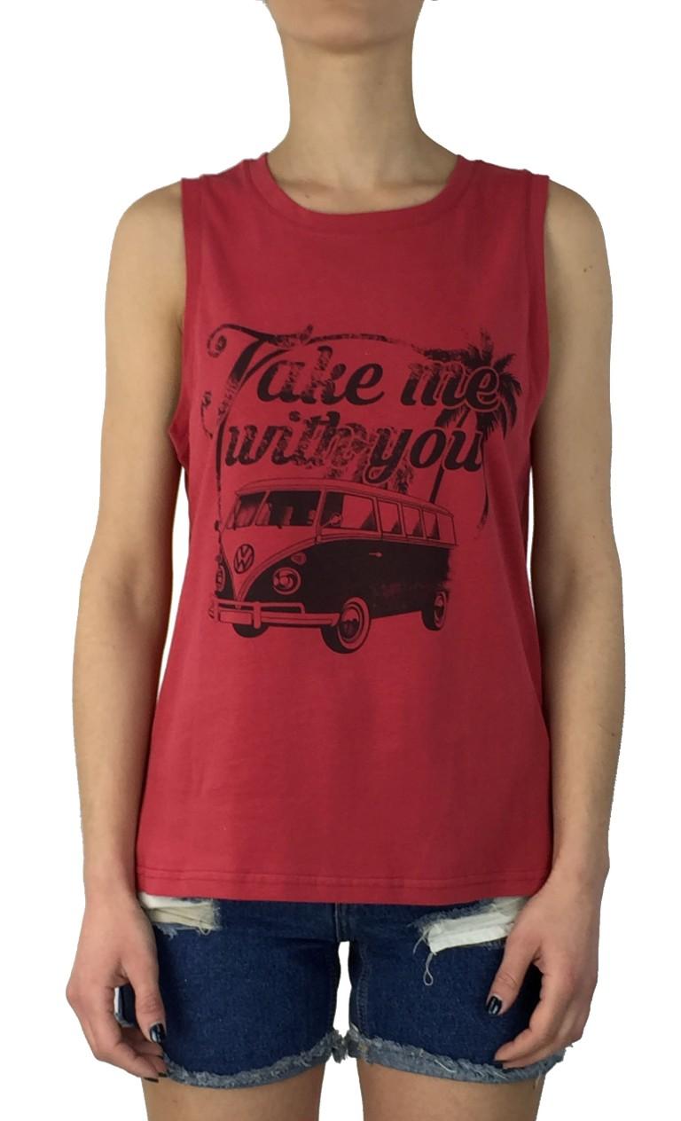 Brown Sugar κόκκινο αμάνικη μπλούζα 013601019B